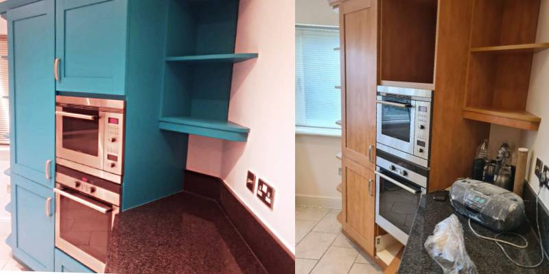 Dulux Green Teal kitchen decorators refurb painting respray andover basingstoke hampshire whitchurch andover